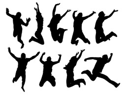 Happy jumping people silhouettes. Black and white vector collection.