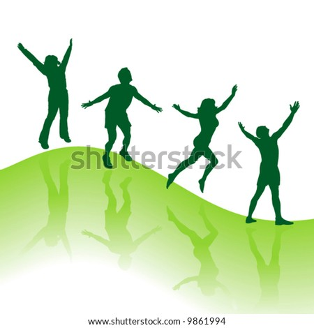 Happy jumping springtime people vector background