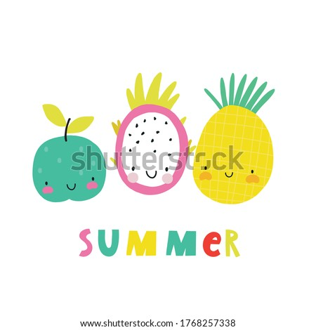 Happy kawaii fruits summer prints for kids.  Cute fruits and berries characters -  Dragon Fruit, Pineapple, Apple