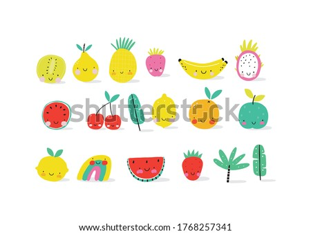 Happy kawaii fruits summer prints for kids.  Cute fruits and berries characters - Lemon, Pear, Strawberry, Watermelon, Dragon Fruit, Pineapple, Apple