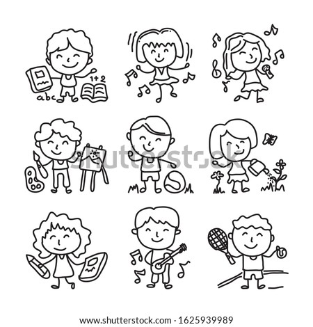Happy kid cartoon doodle vector collection. various various activities such us Watering plants, singing, reading books, exercising, dancing and painting