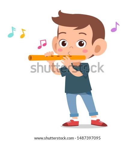 happy kid play flute music vector ストックフォト ©