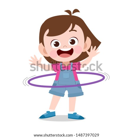 happy kid play with hula hoop vector illustration