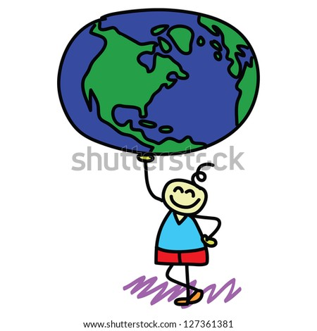 happy kid with the globe on his hand illustration