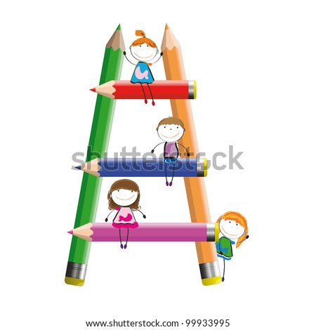 Happy kids and colorful ladder with crayons