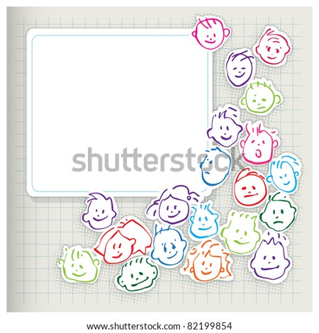 happy kids - cartoony heads icons