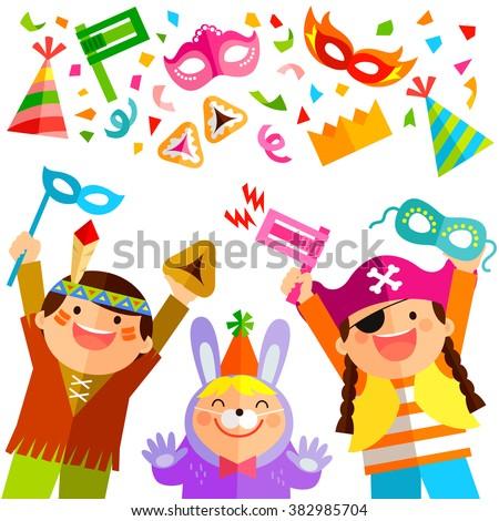 happy kids celebrating purim