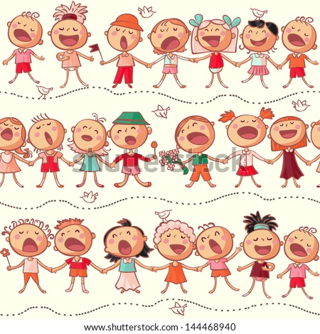 happy kids choir singing seamless vector pattern