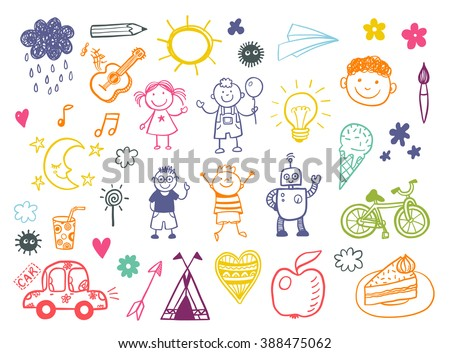 Happy kids doodle set, children drawings