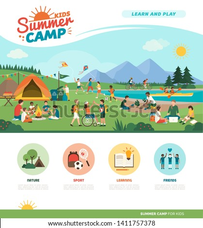 Happy kids enjoying summer camp together in the mountains: they are camping, playing and learning together, diversity and education concept