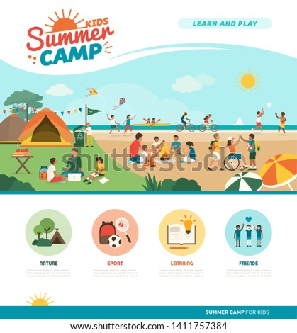 Happy kids enjoying summer camp together on the beach: they are camping, learning and doing sports together, diversity and education concept