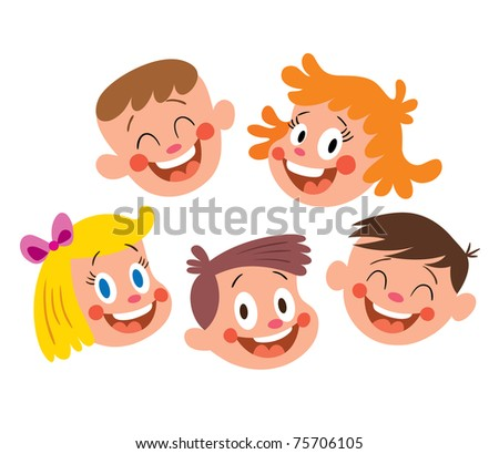 Happy kids faces - stock vector