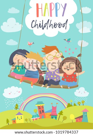 Happy kids flying on a swing