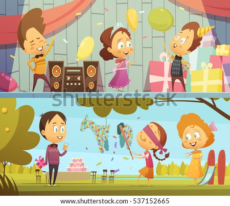 Happy kids having fun dancing and playing at birthday party horizontal banners cartoon isolated vector illustration