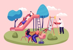 Happy Kids Having Fun Sliding on Outdoor Playground. Children Smiling, Playing on Slide, Active Games on Street. Summer Leisure, Vacation, Holidays, Spare Time. Cartoon Flat Vector Illustration