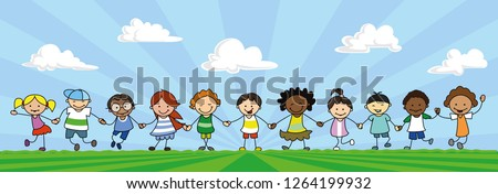 happy kids holding hands, children playing on meadow