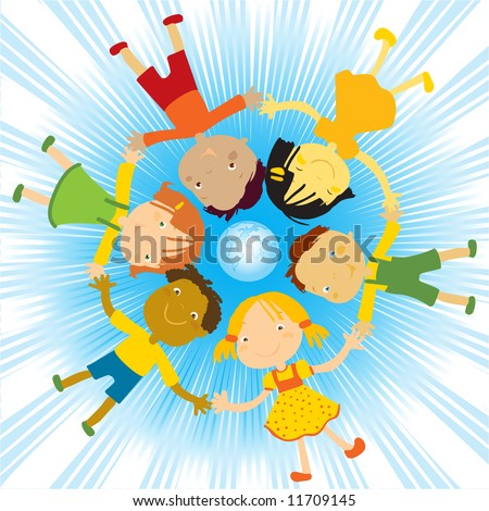 happy kids holding their hands around the globe vector illustration