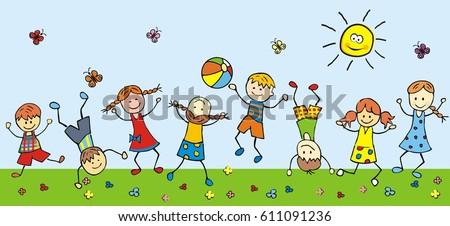 happy kids in meadow, vector illustration