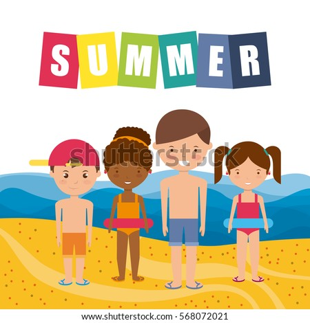 happy kids in the beach. colorful design. summer vacations concept. vector illustration