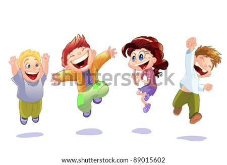 happy kids isolated on white background - stock vector