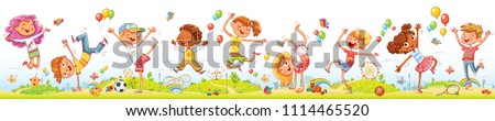 Happy kids jumping and dancing together on the background of amusement park. Seamless children's panorama for your design. Template for advertising brochure or web site. Funny cartoon character.