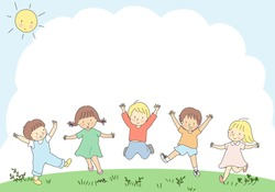 Happy kids jumping together. Children day, child playing, friends, friendship, park, playground, summer, camp, holiday, outdoor. Template, background, brochure, advertising. Cartoon character drawing.