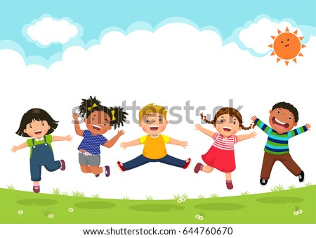 happy kids jumping together...