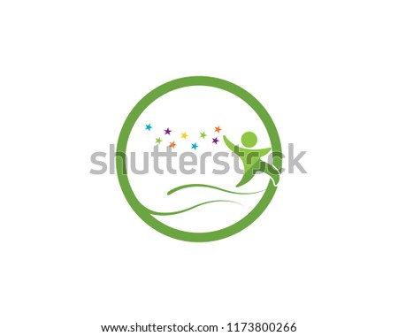 Happy kids logo vector illustration