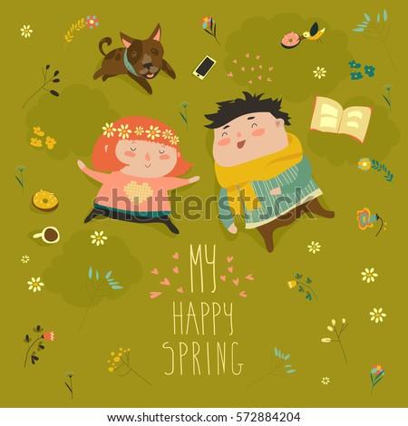 happy kids lying on the meadow