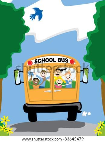 Happy kids on a school bus going to school.