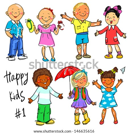 Happy Kids - Part 1. Hand Drawn Clip-Art. Stock Vector 146635616 ...