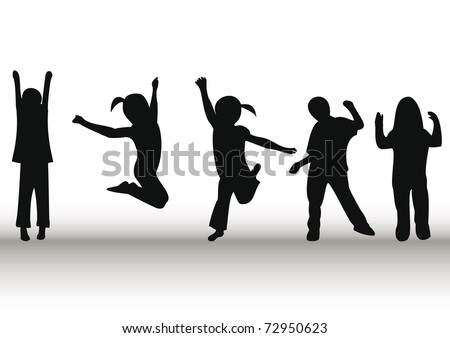 Happy kids playing and jumping - stock vector