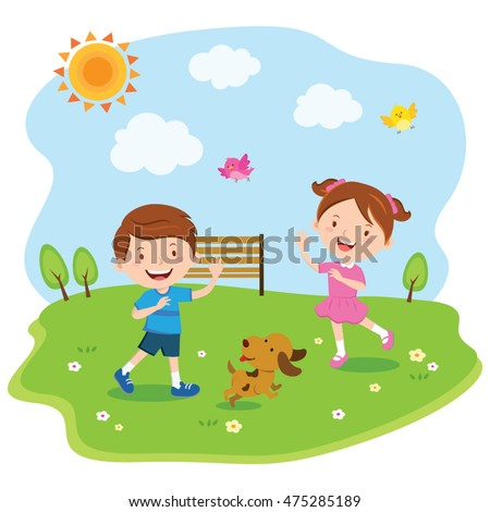 Happy kids playing under the sun. Vector illustration of a little boy and girl enjoy sunny day.