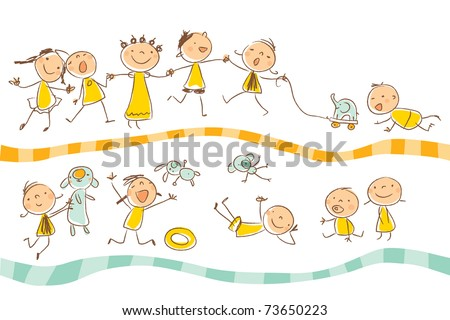 happy kids playing vector illustration