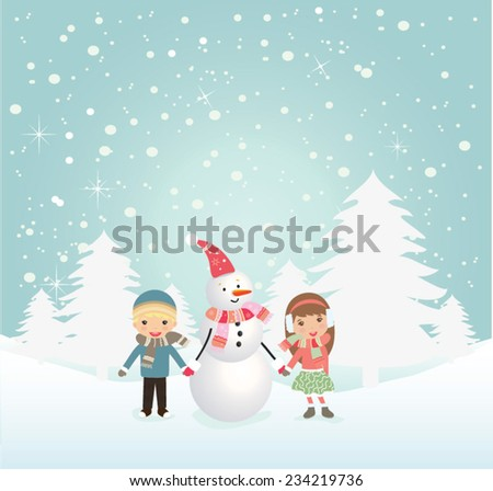 b8f6d6b3177f Happy kids playing with snow. Can be used for retro christmas card ...
