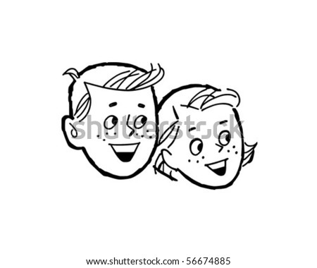 Happy Kids - Retro Clip Art