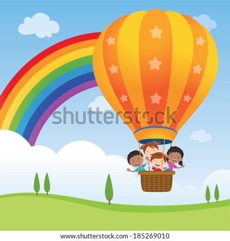 Happy kids riding hot air balloon Vector illustration of diversity kids riding a hot air balloon