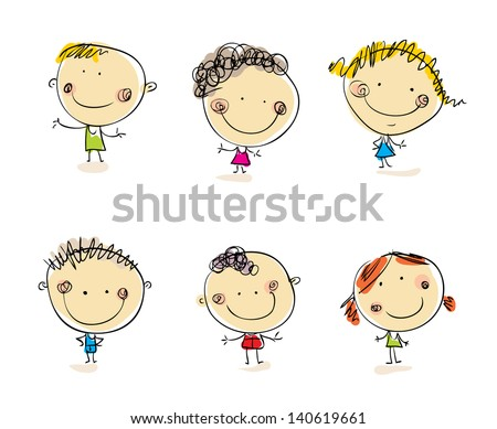 Happy kids set Vector people. Doodle people. Cartoon people
