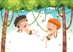 Happy Kids Swinging With Root Rope In Jungle
