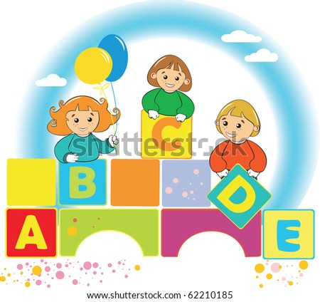 happy kids with color letter
