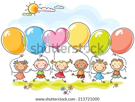 happy kids with colorful...