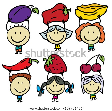 Happy kids with fresh fruits and vegetables - stock vector