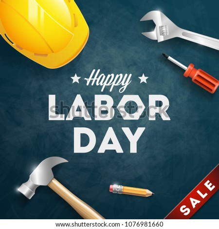 Happy Labor Day banner. 1st May. Design template. Vector illustration