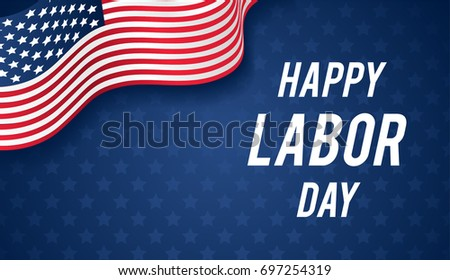 Happy Labor day banner vector illustration, USA flag waving on blue star pattern background with copy space.