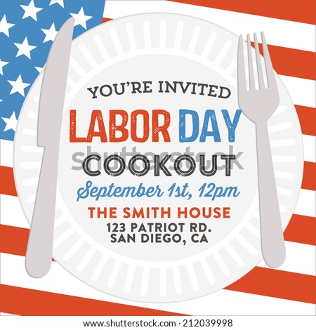 Happy Labor Day Cookout Invitation | American Holiday Picnic Barbecue Flag Invite Vector