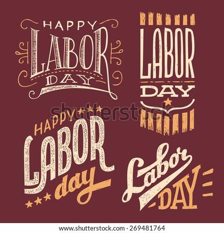 Happy Labor Day, vintage hand-lettering designs set