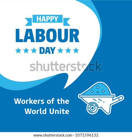 Happy Labour day design with white and blue theme vector with co