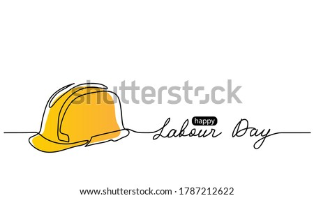 Happy Labour Day simple vector web background. Yellow hard hat. Lettering Labour Day. Minimalist background, banner, poster.