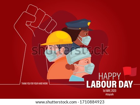 Happy Labour Day 2020. 1st May. Thank you for your Hard Work. Labourers with Face Mask. International Labour Day Vector Art