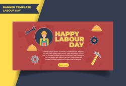 Happy Labour Day Template Background , poster, banner flat Vector Illustration. Vector illustration of  Labour Day with stylish text background.